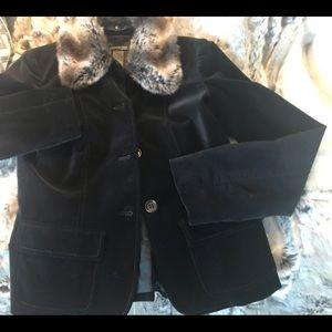 Black Velvet Blazer with Detachable Fur Collar